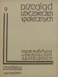 Przegląd Ubezpieczeń Społecznych : 1932, nr 9