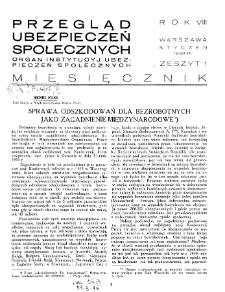 Przegląd Ubezpieczeń Społecznych : 1933, nr 1