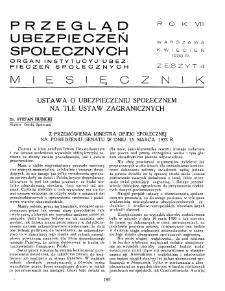 Przegląd Ubezpieczeń Społecznych : 1933, nr 4