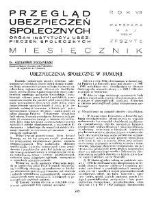 Przegląd Ubezpieczeń Społecznych : 1933, nr 5
