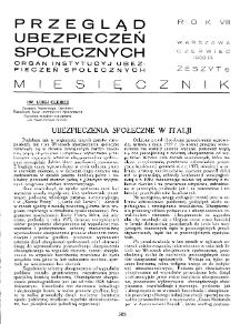 Przegląd Ubezpieczeń Społecznych : 1933, nr 6