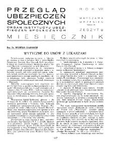 Przegląd Ubezpieczeń Społecznych : 1933, nr 9