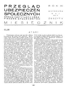 Przegląd Ubezpieczeń Społecznych : 1934, nr 5