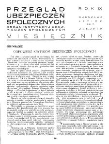 Przegląd Ubezpieczeń Społecznych : 1934, nr 7