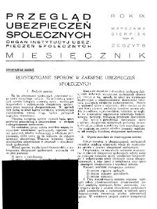 Przegląd Ubezpieczeń Społecznych : 1934, nr 8