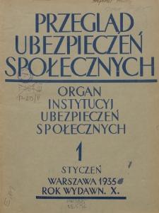 Przegląd Ubezpieczeń Społecznych : 1935, nr 1