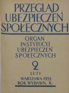 Przegląd Ubezpieczeń Społecznych : 1935, nr 2
