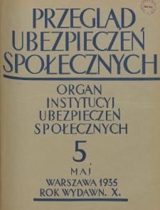 Przegląd Ubezpieczeń Społecznych : 1935, nr 5