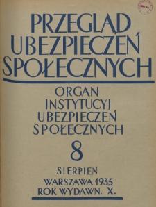 Przegląd Ubezpieczeń Społecznych : 1935, nr 8
