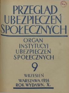 Przegląd Ubezpieczeń Społecznych : 1935, nr 9