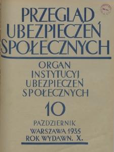 Przegląd Ubezpieczeń Społecznych : 1935, nr 10