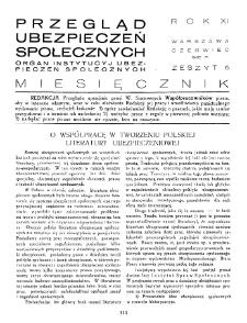 Przegląd Ubezpieczeń Społecznych : 1936, nr 6