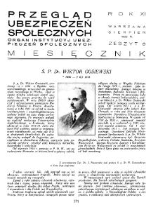 Przegląd Ubezpieczeń Społecznych : 1936, nr 8