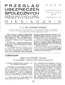 Przegląd Ubezpieczeń Społecznych : 1936, nr 10