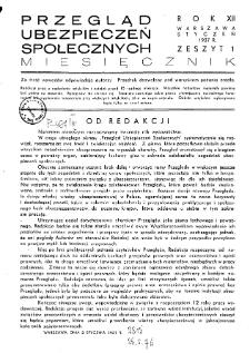 Przegląd Ubezpieczeń Społecznych : 1937, nr 1