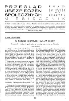Przegląd Ubezpieczeń Społecznych : 1937, nr 4