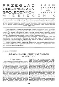 Przegląd Ubezpieczeń Społecznych : 1937, nr 5