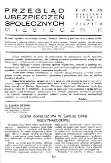 Przegląd Ubezpieczeń Społecznych : 1937, nr 6