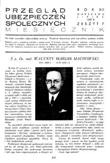 Przegląd Ubezpieczeń Społecznych : 1937, nr 7