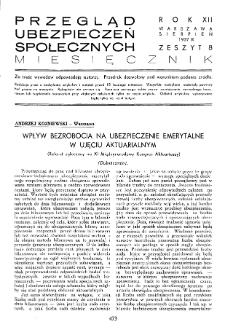 Przegląd Ubezpieczeń Społecznych : 1937, nr 8