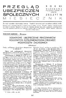 Przegląd Ubezpieczeń Społecznych : 1937, nr 10