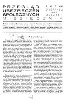 Przegląd Ubezpieczeń Społecznych : 1938, nr 1