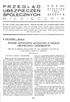 Przegląd Ubezpieczeń Społecznych : 1938, nr 8