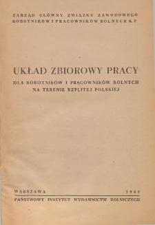 Układ zbiorowy pracy dla robotników i pracowników rolnych na terenie Rzplitej Polskiej [zawarty 25 marca 1948 r.]