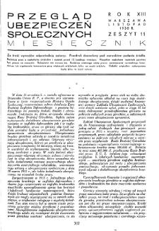 Przegląd Ubezpieczeń Społecznych : 1938, nr 11