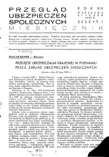 Przegląd Ubezpieczeń Społecznych : 1939, nr 1