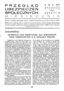Przegląd Ubezpieczeń Społecznych : 1939, nr 8