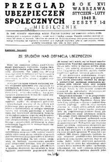 Przegląd Ubezpieczeń Społecznych : 1948, nr 1-2