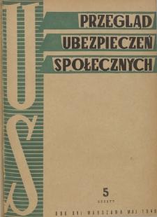 Przegląd Ubezpieczeń Społecznych : 1948, nr 5