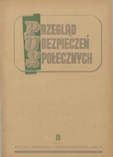 Przegląd Ubezpieczeń Społecznych : 1948, nr 8