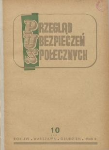 Przegląd Ubezpieczeń Społecznych : 1948, nr 10