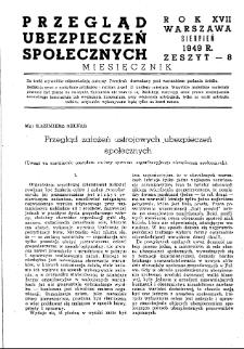 Przegląd Ubezpieczeń Społecznych : 1949, nr 8