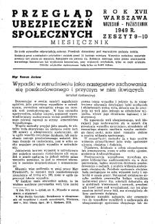 Przegląd Ubezpieczeń Społecznych : 1949, nr 9-10