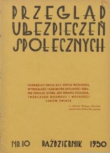 Przegląd Ubezpieczeń Społecznych : 1950, nr 10