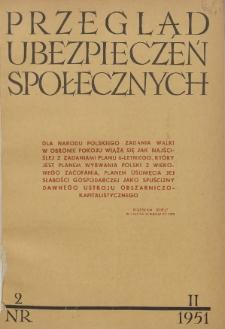 Przegląd Ubezpieczeń Społecznych : 1951, nr 2
