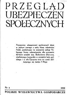 Przegląd Ubezpieczeń Społecznych : 1952, nr 3