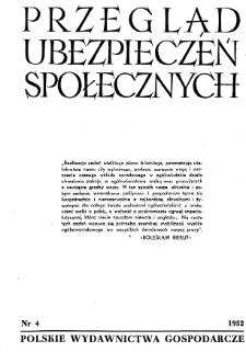 Przegląd Ubezpieczeń Społecznych : 1952, nr 4