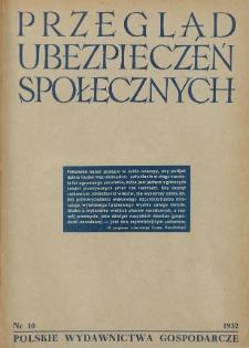 Przegląd Ubezpieczeń Społecznych : 1952, nr 10
