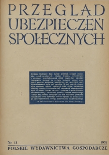 Przegląd Ubezpieczeń Społecznych : 1952, nr 11