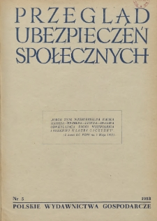 Przegląd Ubezpieczeń Społecznych : 1953, nr 5