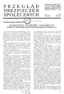 Przegląd Ubezpieczeń Społecznych : 1954, nr 1