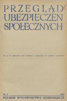 Przegląd Ubezpieczeń Społecznych : 1954, nr 2