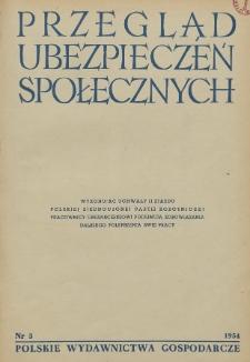 Przegląd Ubezpieczeń Społecznych : 1954, nr 3