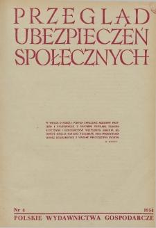 Przegląd Ubezpieczeń Społecznych : 1954, nr 4
