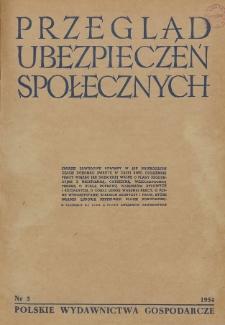 Przegląd Ubezpieczeń Społecznych : 1954, nr 5