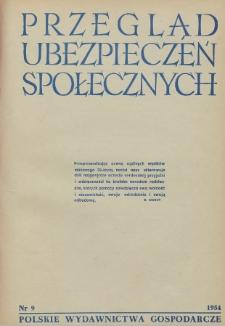 Przegląd Ubezpieczeń Społecznych : 1954, nr 9